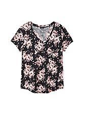 Breast Cancer Awareness Classic Fit V-Neck Tee - Heritage Slub Floral Black & Pink, FLORAL - BLACK, hi-res