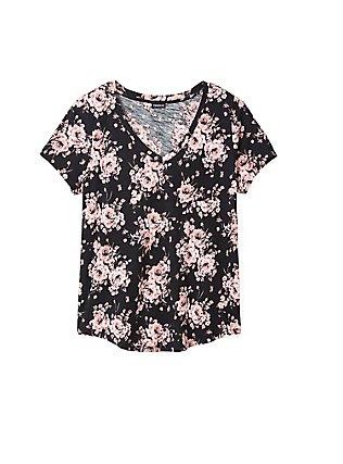 Breast Cancer Awareness - Black & Pink Floral V-Neck Tee, FLORAL - BLACK, pdped