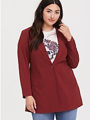 Dark Red Crepe Longline Blazer, , alternate