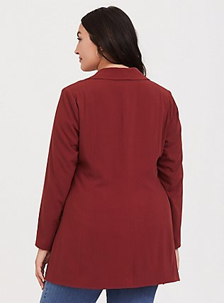 Dark Red Crepe Longline Blazer, , alternate