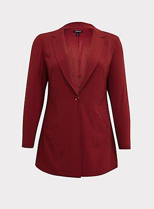 Dark Red Crepe Longline Blazer, , flat