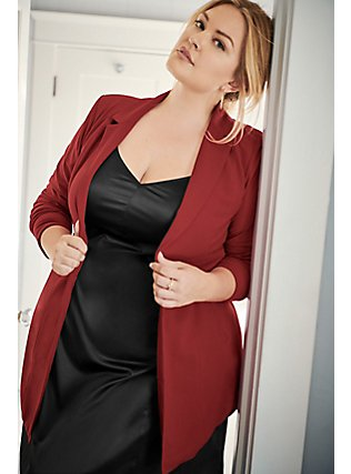 Dark Red Crepe Longline Blazer, , pdped