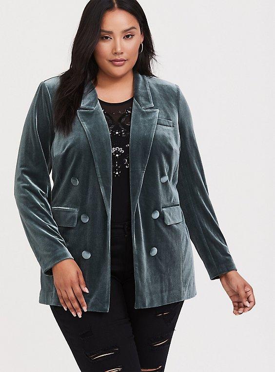 Green Velvet Open Front Button Blazer, , hi-res