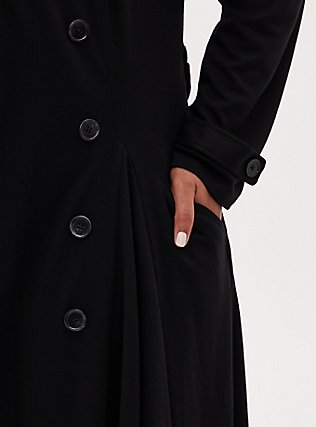 Black Brushed Premium Ponte Double-Breasted Swing Trench Coat, DEEP BLACK, alternate