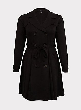 Black Brushed Premium Ponte Double-Breasted Swing Trench Coat, DEEP BLACK, flat