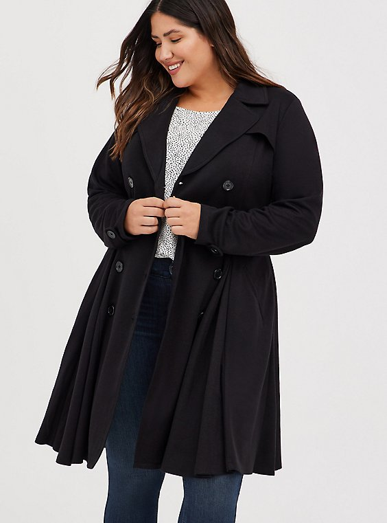 Plus Size Black Brushed Premium Ponte Double-Breasted Swing Trench Coat, , hi-res