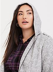 Marled Light Grey Hacci Fit & Flare Zip Coat with Hood, , alternate