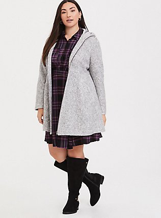 Marled Light Grey Hacci Fit & Flare Zip Coat with Hood, , hi-res