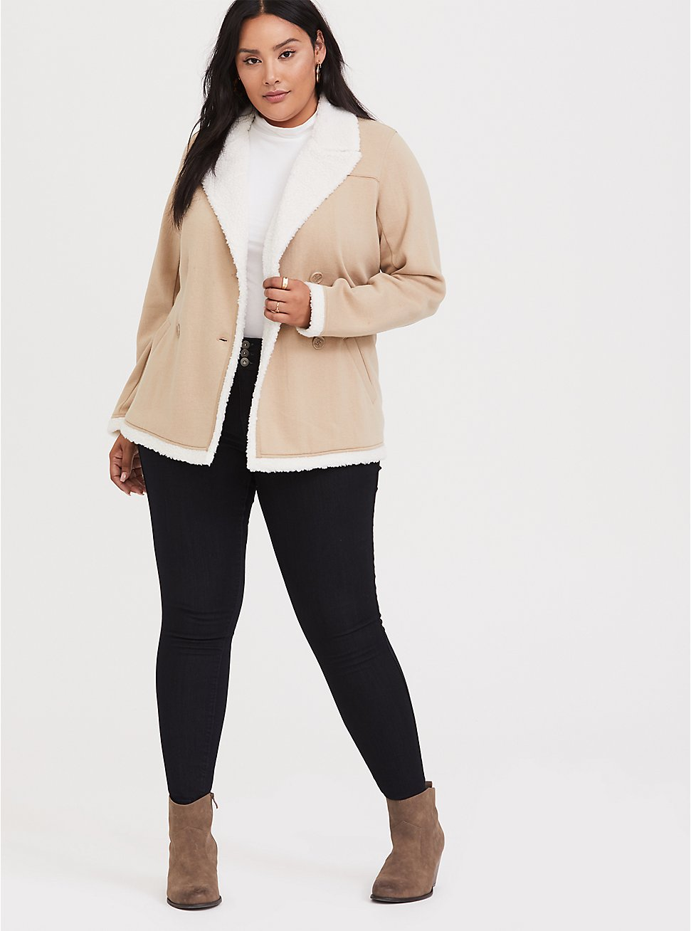 Beige Double-Breasted Faux Shearling Trimmed Coat, , hi-res