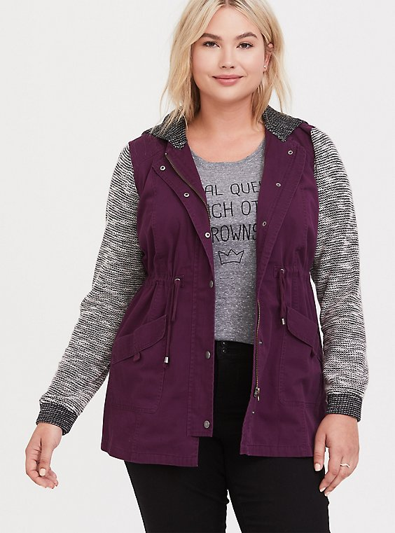 Plus Size Burgundy Marled Mixed Media Anorak, , hi-res