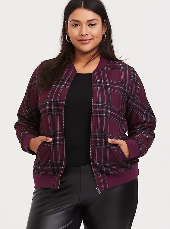 Burgundy Purple Plaid Brushed Ponte Bomber Jacket, , hi-res