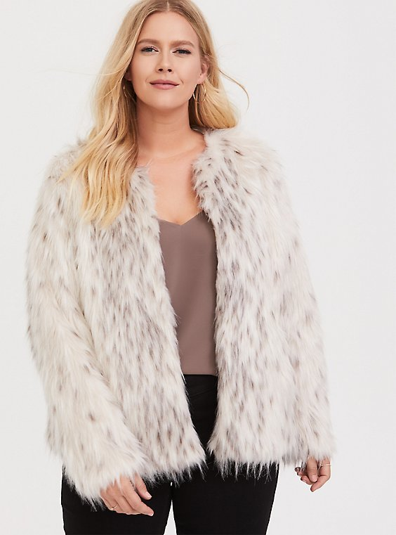 Cream Faux Fur Crop Jacket, , hi-res
