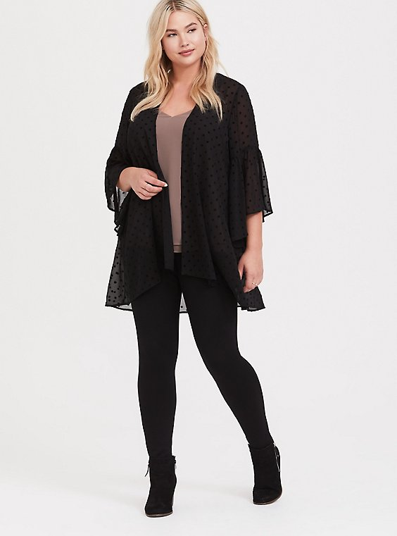 Plus Size Black Flocked Polka Dot Kimono, , hi-res