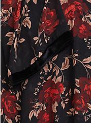 Black & Red Floral Velvet Trim Kimono, , alternate