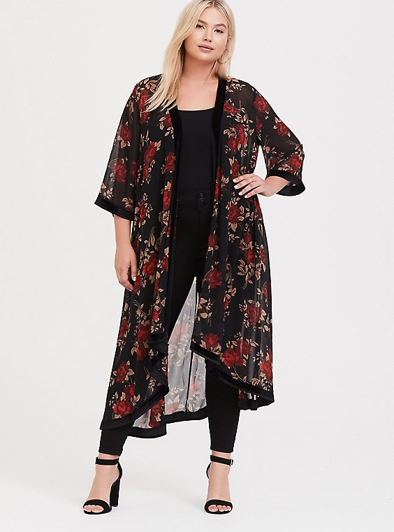 Plus Size Black & Red Floral Velvet Trim Kimono, , hi-res