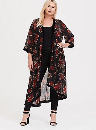 Black & Red Floral Velvet Trim Kimono, , hi-res