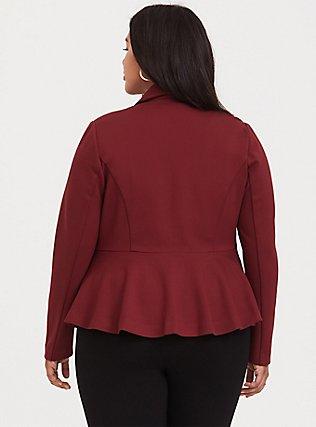 Studio Uptown Premium Ponte Dark Red Stretch Peplum Blazer, , alternate