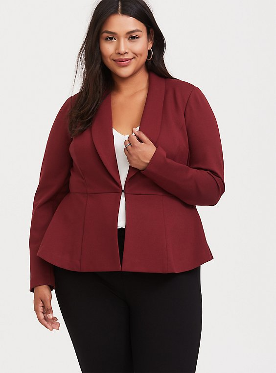 Studio Uptown Premium Ponte Dark Red Stretch Peplum Blazer, , hi-res