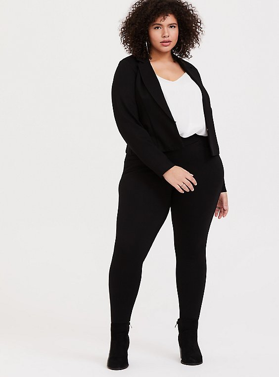 Plus Size Black Ponte Sky High Crop Blazer, , hi-res