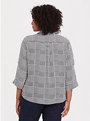 Madison - Plaid Houndstooth Georgette Button Front Blouse, MULTI, alternate