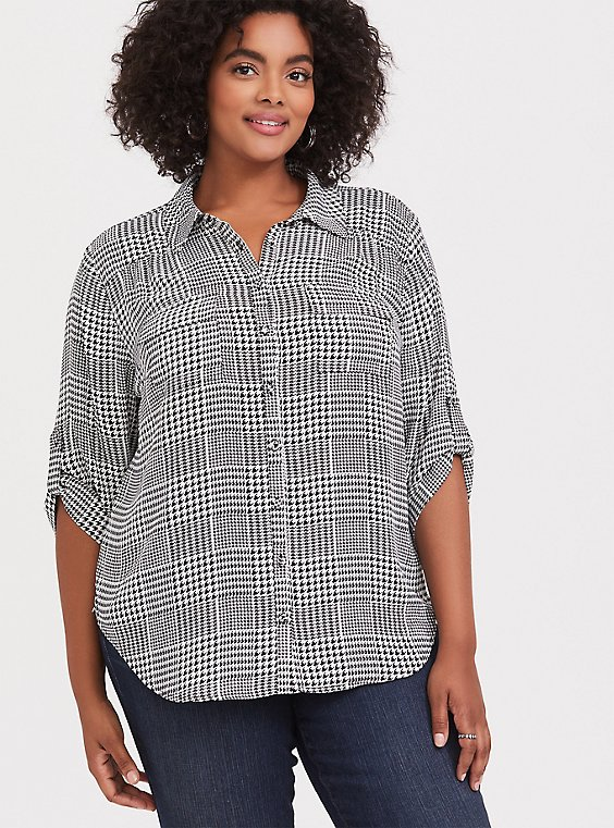 Madison - Plaid Houndstooth Georgette Button Front Blouse, , hi-res