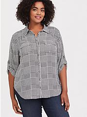Madison - Plaid Houndstooth Georgette Button Front Blouse, MULTI, hi-res