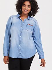 Taylor - Medium Wash Fox Button Front Classic Fit Shirt, MEDIUM WASHED DENIM, alternate