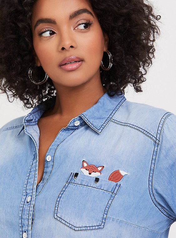 Plus Size Taylor - Medium Wash Embroidered Fox Button Front Shirt, , hi-res