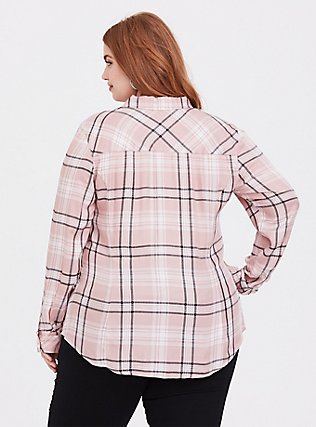 Taylor - Pink Plaid Button Front Slim Fit Shirt, MULTI, alternate
