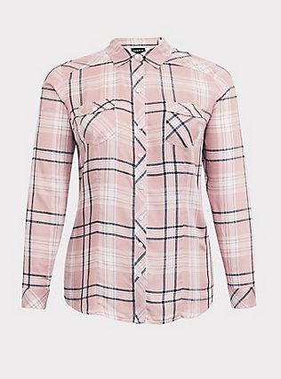 Taylor - Pink Plaid Button Front Slim Fit Shirt, MULTI, flat