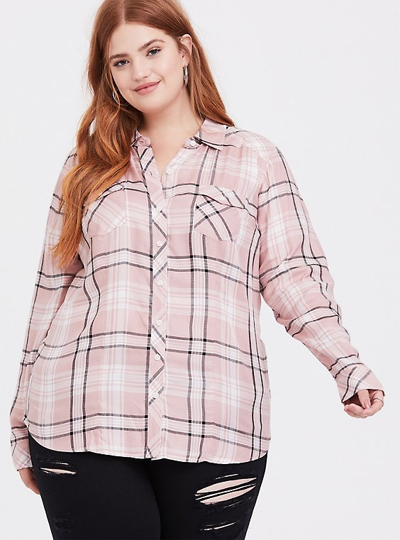 Taylor - Pink Plaid Button Front Slim Fit Shirt, , hi-res