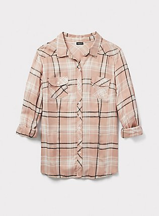 Taylor - Pink Plaid Button Front Slim Fit Shirt, MULTI, pdped