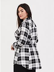 Taylor - Black & White Plaid Twill Button Front Slim Fit Tunic Shirt, MULTI, alternate