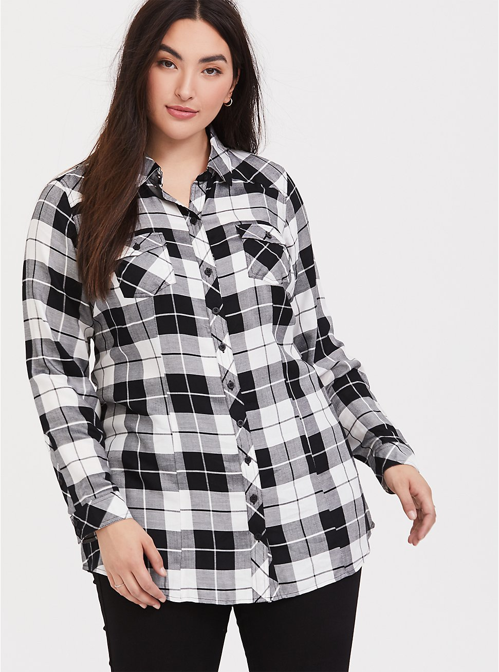 Taylor - Black & White Plaid Twill Button Front Slim Fit Tunic Shirt, MULTI, hi-res