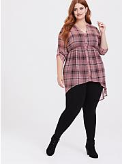 Lexie - Rose Pink Plaid Chiffon Hi-Lo Babydoll Tunic, MULTI, alternate
