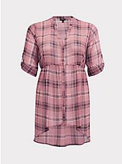 Lexie - Rose Pink Plaid Chiffon Hi-Lo Babydoll Tunic, MULTI, hi-res