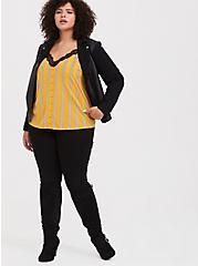 Yellow & Black Stripe Chablis & Lace Button Crop Cami, MULTI, alternate