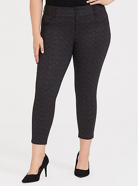 Studio Signature Premium Ponte Stretch Ankle Skinny Pant - Grey Chevron Sparkle, , alternate