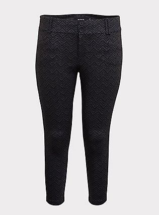 Studio Signature Premium Ponte Stretch Ankle Skinny Pant - Grey Chevron Sparkle, , flat