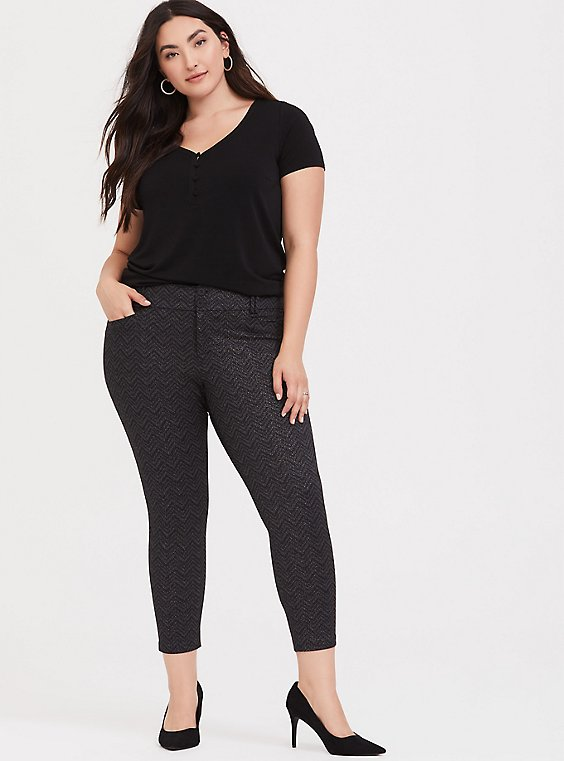 Plus Size Studio Signature Premium Ponte Stretch Ankle Skinny Pant - Grey Chevron Sparkle, , hi-res