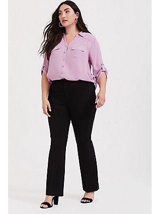 Studio Signature Premium Ponte Stretch Trouser - Black, DEEP BLACK, hi-res