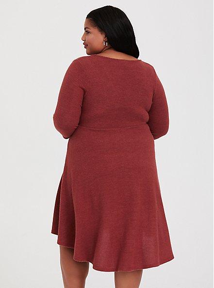 Super Soft Plush Brick Red V-Neck Skater Dress, BURNT BRICK, alternate