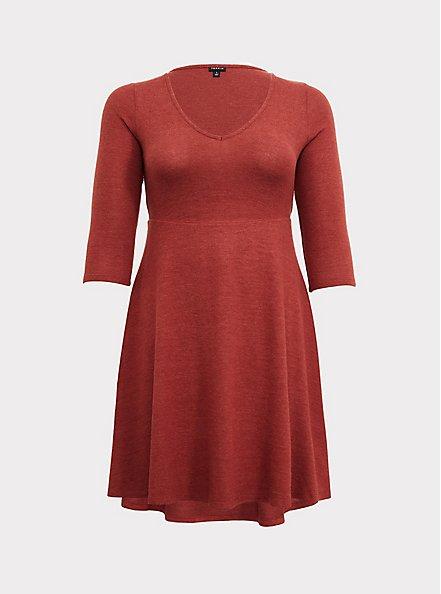 Super Soft Plush Brick Red V-Neck Skater Dress, BURNT BRICK, hi-res