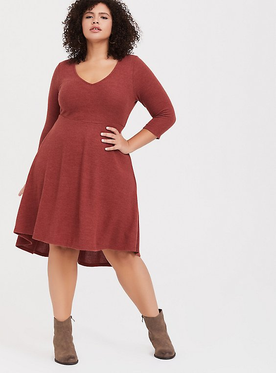 Super Soft Plush Brick Red V-Neck Skater Dress, , hi-res