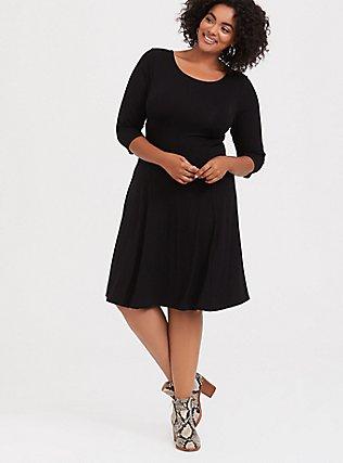 Black Jersey Reversible Corset Fluted Dress, , hi-res