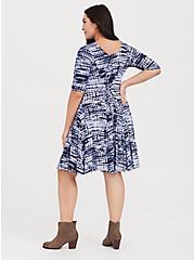 Blue Tie-Dye Jersey Reversible Corset Fluted Dress, PEACOAT, alternate