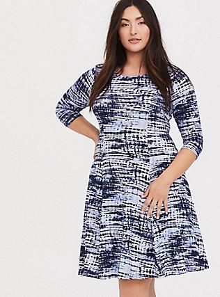 Blue Tie-Dye Jersey Reversible Corset Fluted Dress, PEACOAT, hi-res