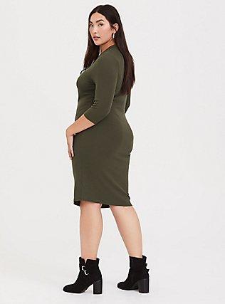 Olive Green Rib Lace-Up Dress, DEEP DEPTHS, alternate