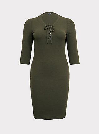 Olive Green Rib Lace-Up Dress, DEEP DEPTHS, flat