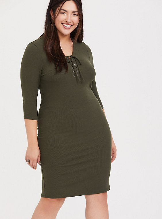 Olive Green Rib Lace-Up Dress, , hi-res